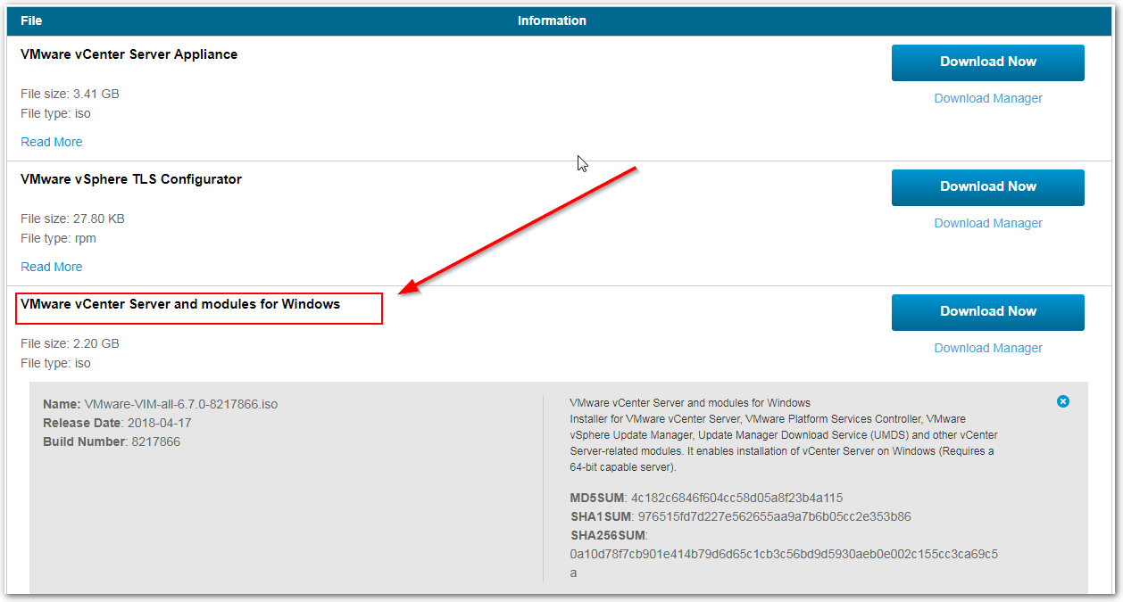vCenter Server 6.7 : Windows Download is Available