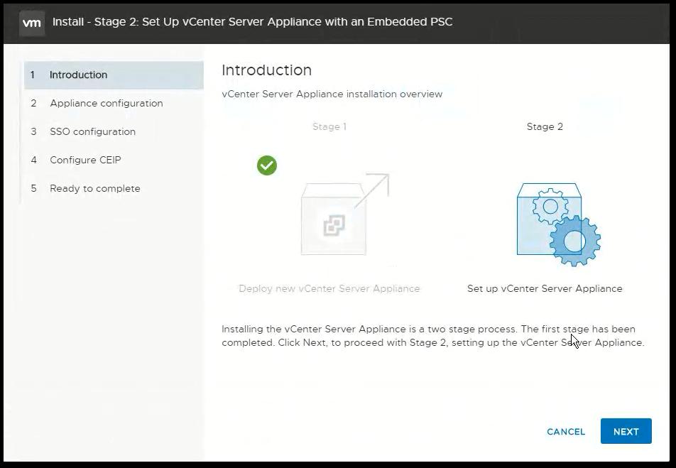 vCenter Server 6.7 : Stage 2 Introduction