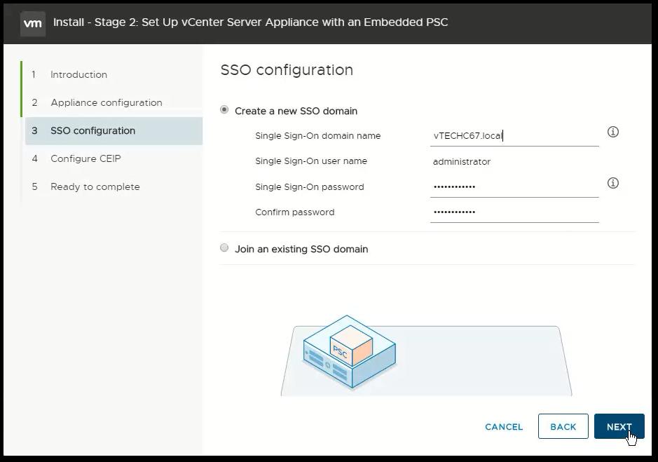 vCenter Server 6.7 : SSO Domain