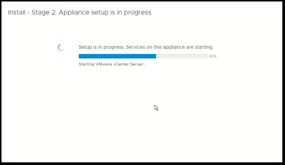 vCenter Server 6.7 : Config Inprogress