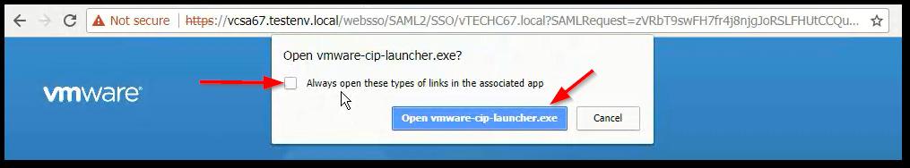 vCenter Server 6.7 : Pop-Up