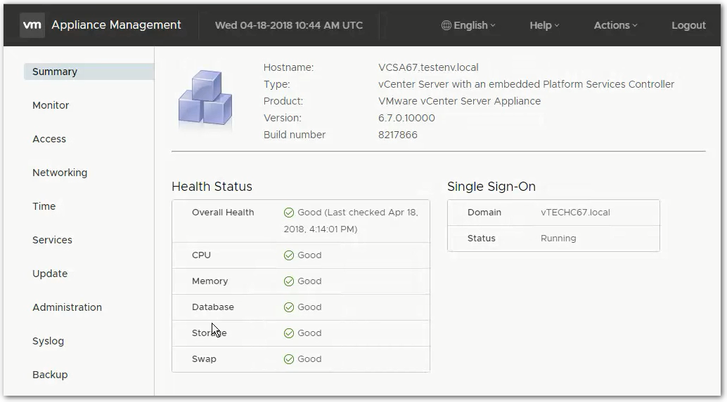 vCenter Server 6.7 : VAMI Summary