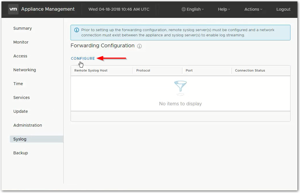vCenter Server 6.7 : Syslogs