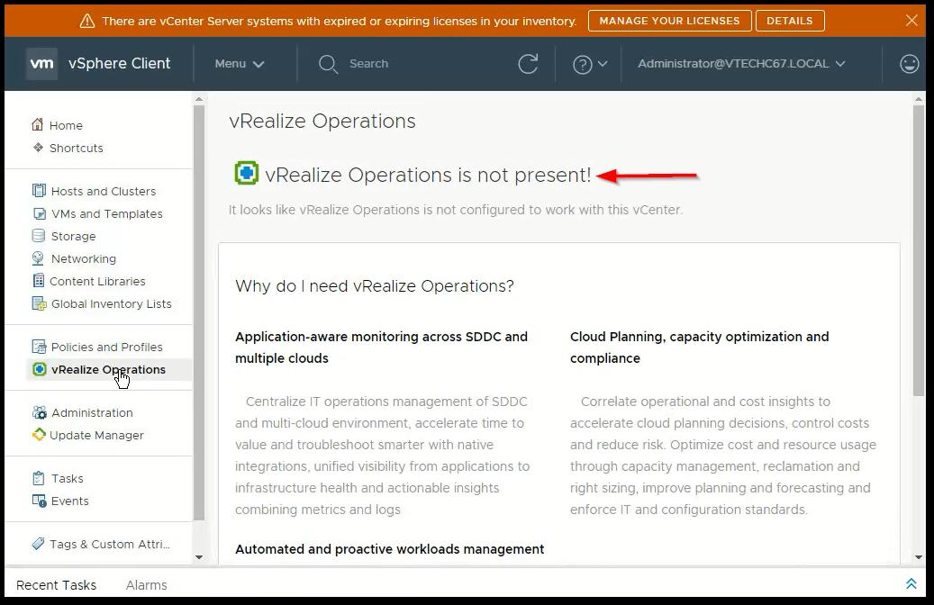 vCenter Server 6.7 : vRealize integration