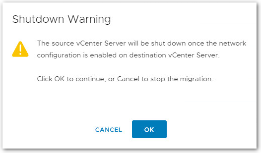 Migrate Windows Based vCenter Server to VCSA 6.7 : warning