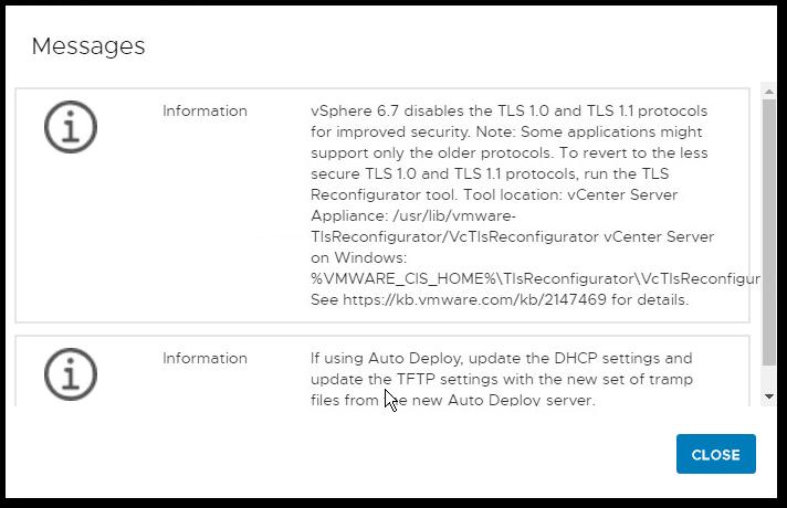 Migrate Windows Based vCenter Server to VCSA 6.7 : information