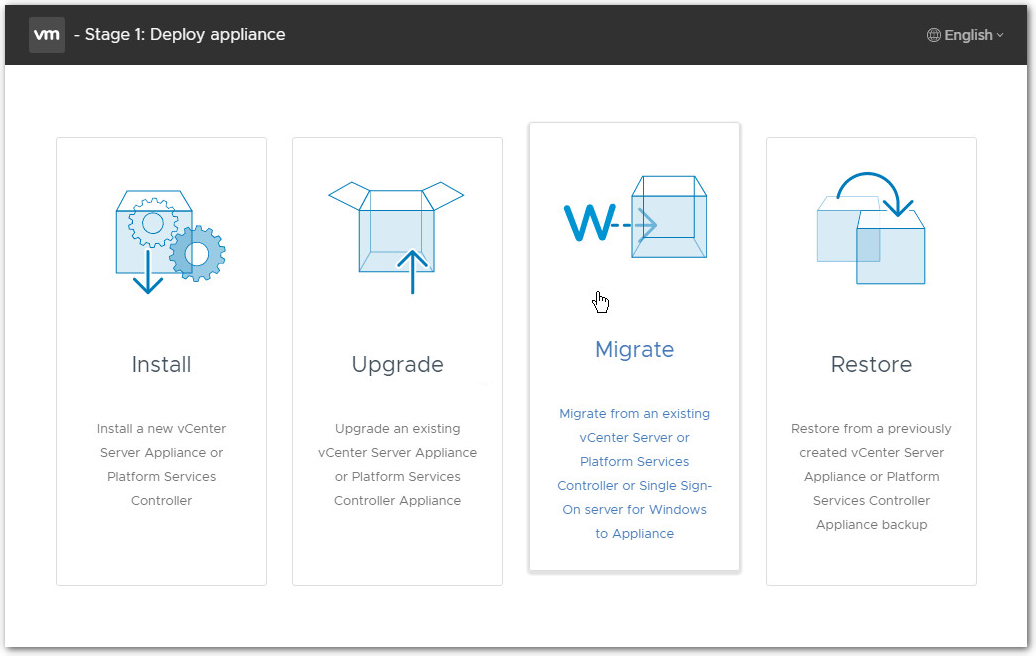 Migrate Windows Based vCenter Server to VCSA 6.7 : Migrate