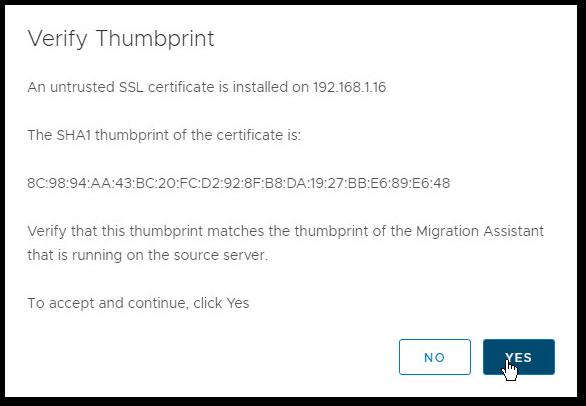 Migrate Windows Based vCenter Server to VCSA 6.7 : Thumbprint