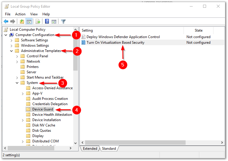 VMware Workstation and Device/Credential Guard are not compatible. : Setting