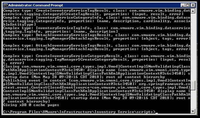 Reset vCenter Inventory Service Database : End