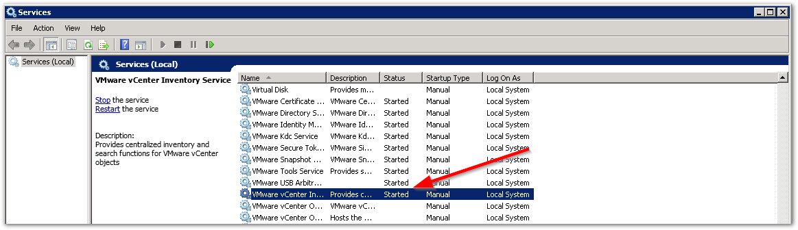Reset vCenter Inventory Service Database : Start the Inventory