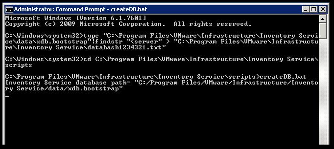 Reset vCenter Inventory Service Database : Start
