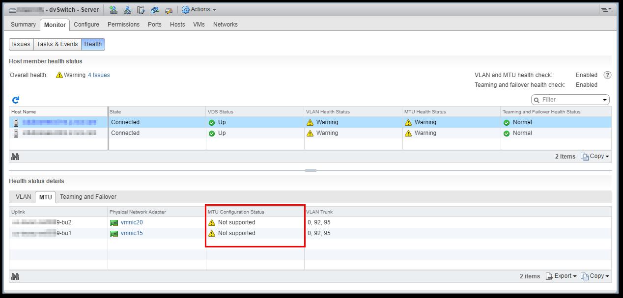 VMware vSphere Distributed Switch Health Check