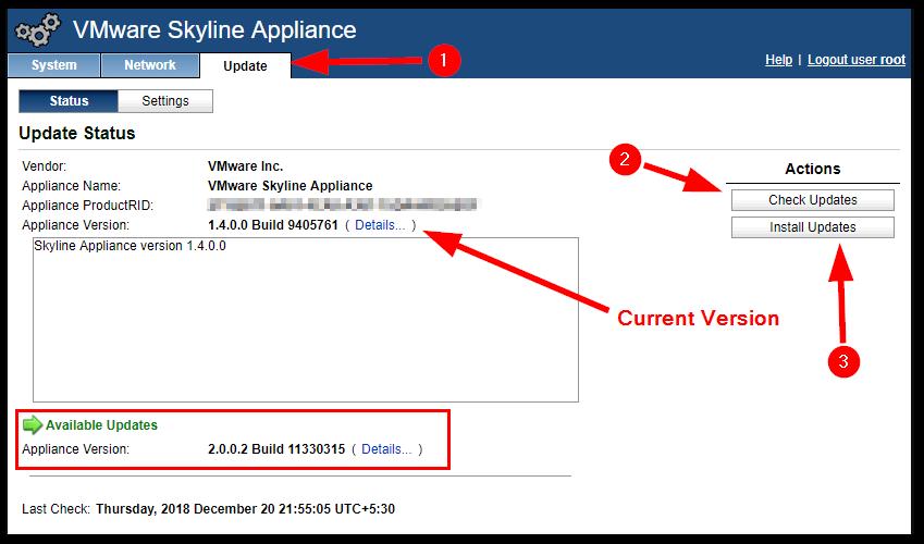 VMware Skyline Collector 2.0 : Check update