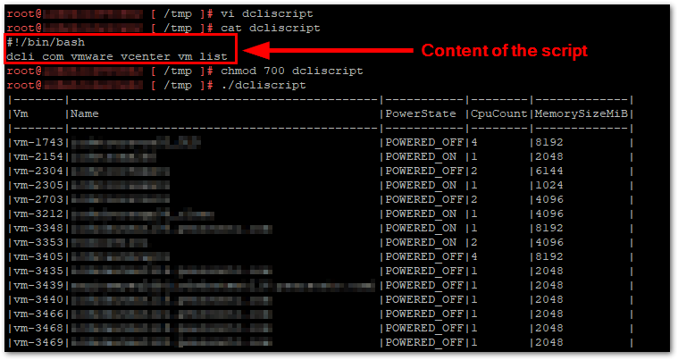 Datacenter CLI (DCLI) :  with a script