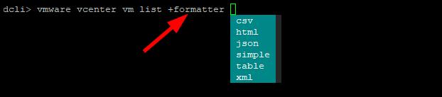 Datacenter CLI (DCLI) : Formatting Options