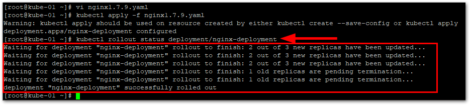 Kubernetes Deployment Rolling Updates : Check Rollout Status