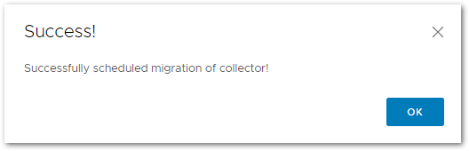 Token For VMware Skyline Collector : Successfully migration scheduled
