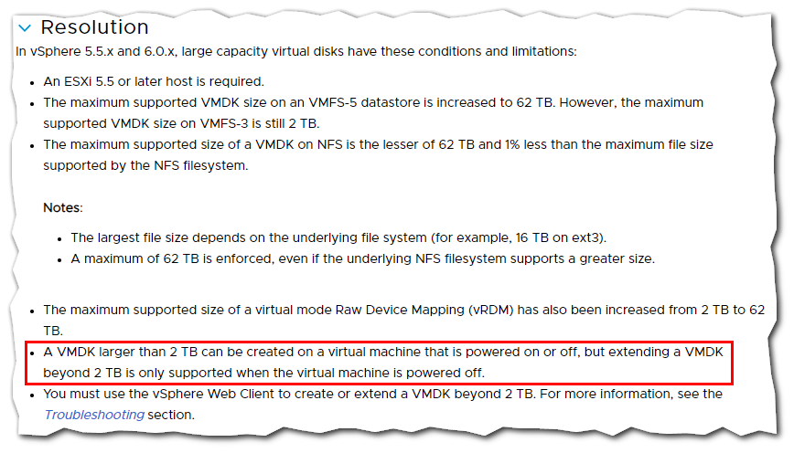 Unable To Extend Powered On Virtual Machine Disk Beyond 2 TB : VMware KB