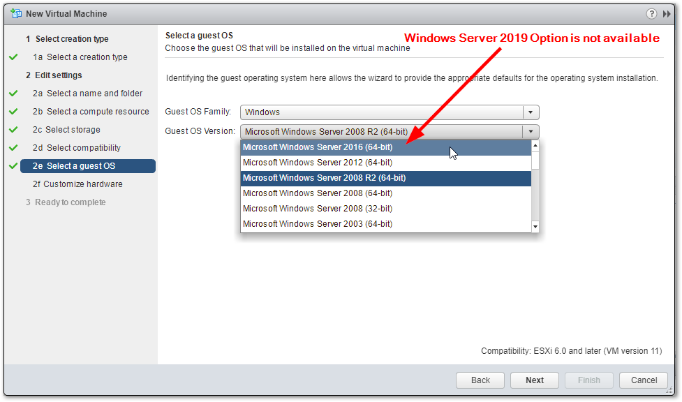 Windows Server 2019 Compatibility For ESXi 6.5 and 6.0 : Option is not available