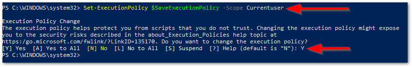 Check Vulnerable Status For Windows Systems Reset execution policy