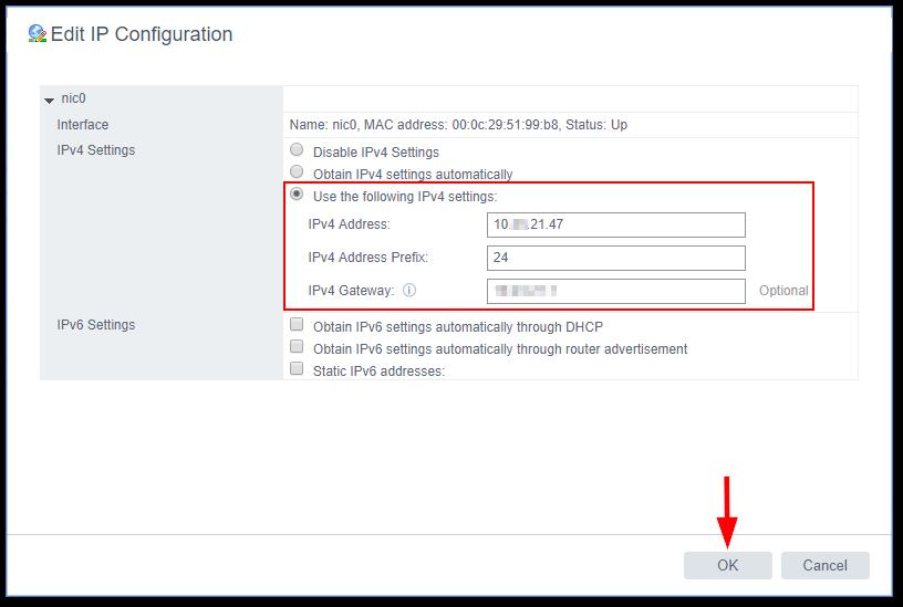 Change The vCenter Server Appliance IP Address IP