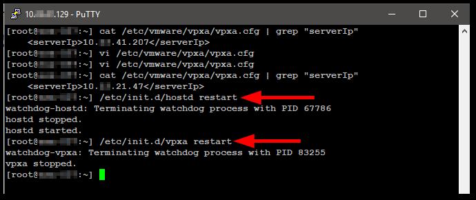 Change The vCenter Server Appliance IP Address restart services