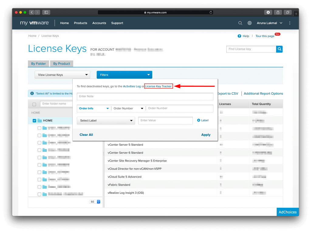 VMware License Key Tracker access tracker