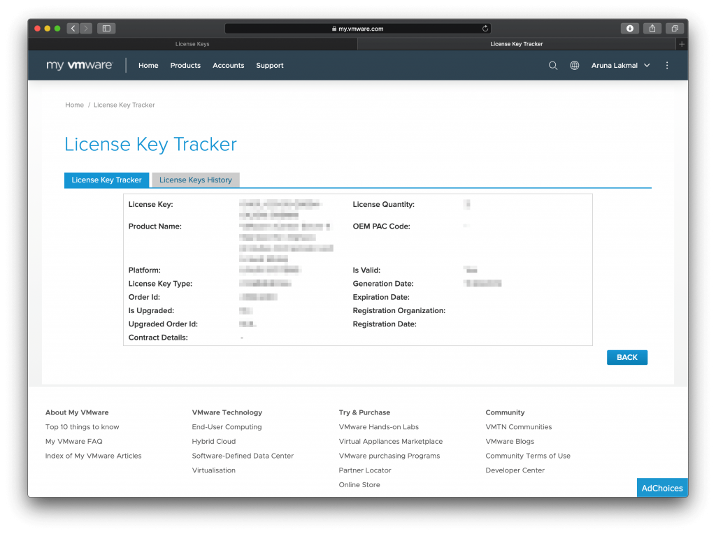 VMware License Key Tracker view more info