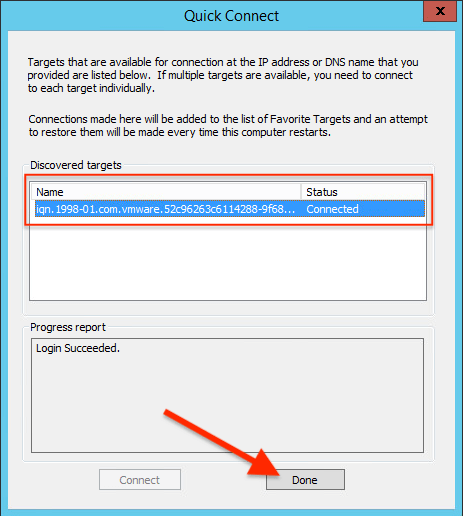 VMware vSAN iSCSI Target Service Click done