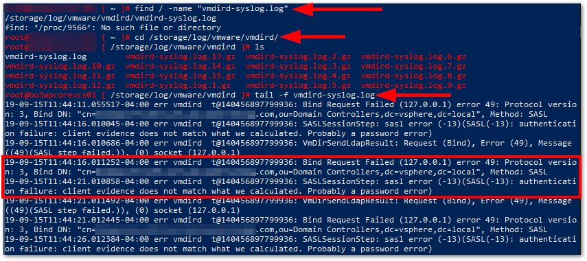 Error Occurred While Starting Service: vmdird-syslog.log