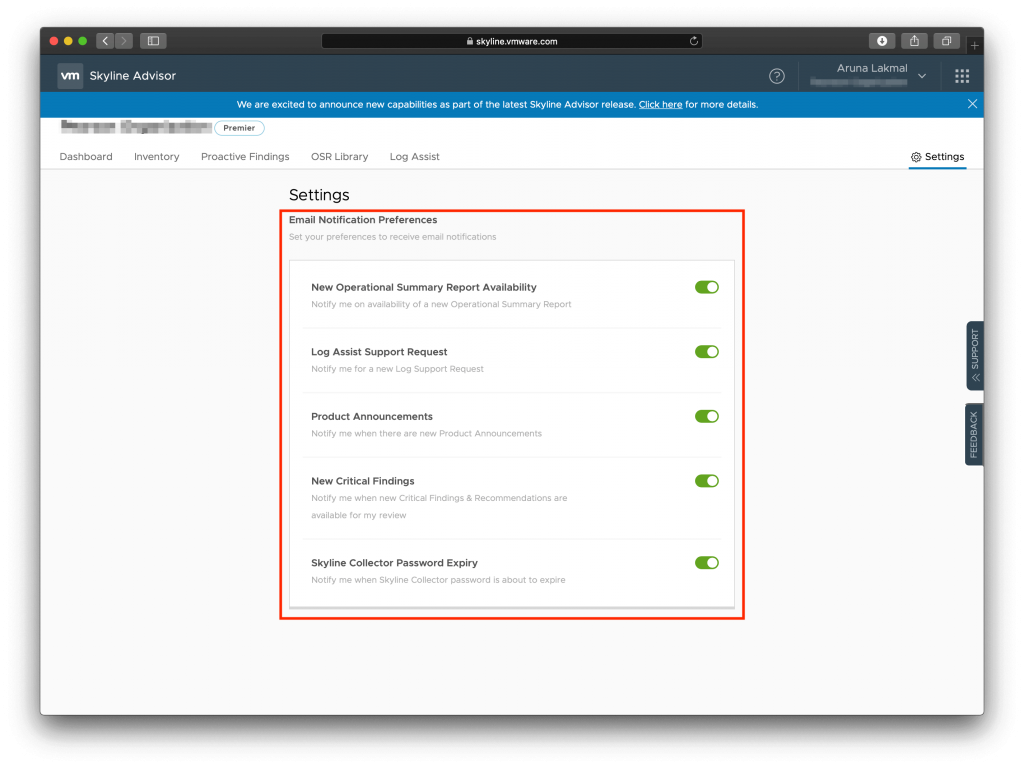 VMware Skyline New Email Preference Email settings