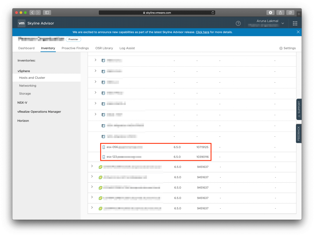 VMware Skyline New Email Preference standalone hosts