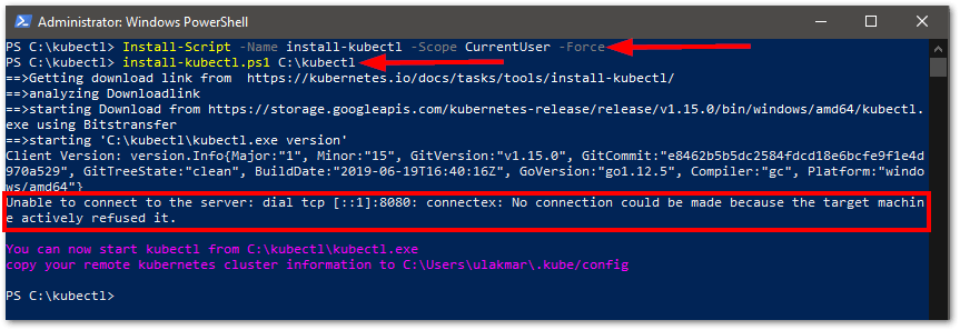 install kubectl on Windows install
