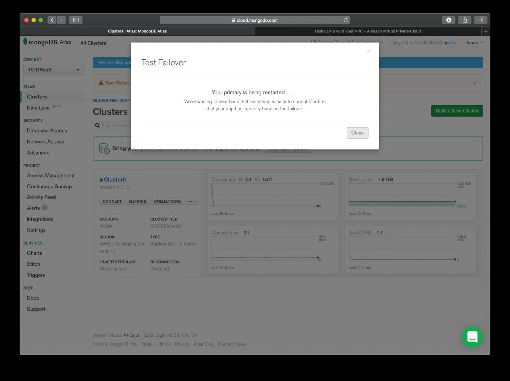 Failover Test In MongoDB Atlas wait for sometime