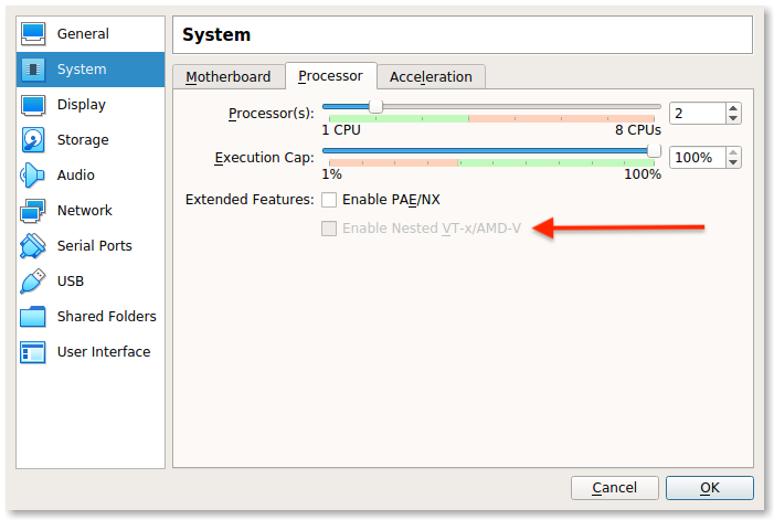 Nested Virtualization For A Oracle VirtualBox Virtual Machine disabled