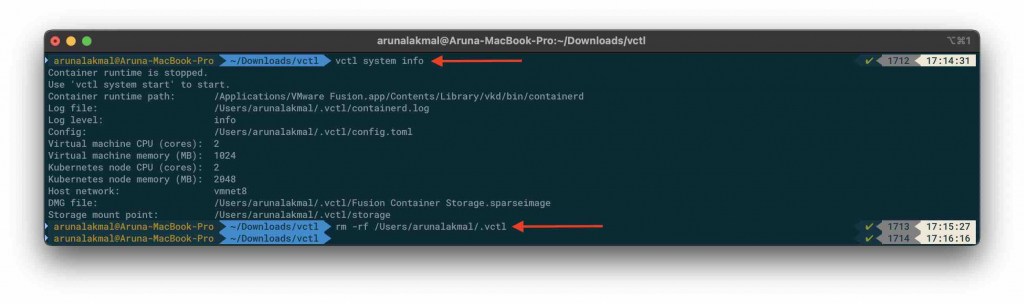 VMware Fusion and Kubernetes system info